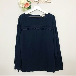 LOFT Navy Long Sleeve Blouse Crochet Detail Size M